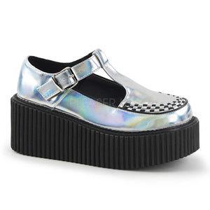 Shoes - Platform Creeper Shoes Gothic Punk Hologram Silver